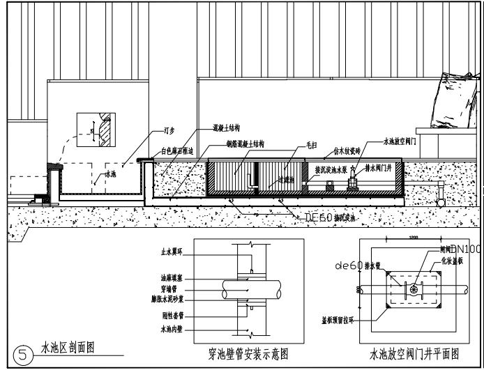 深圳现代别墅景观施工图-水池详图