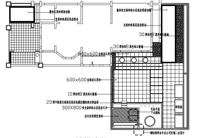 深圳现代别墅景观施工图-铺装材料总平面图