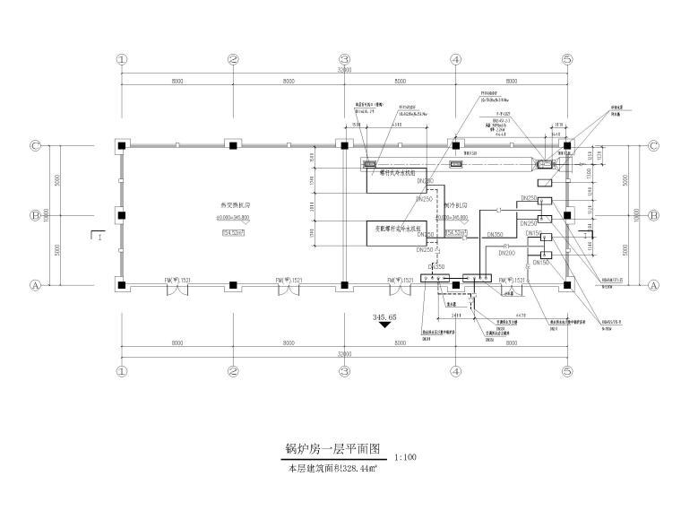 高层医院暖通施工图含计算书大样图2019-锅炉房一层平面图