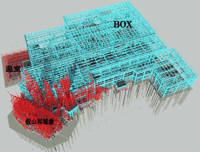 多层钢框架结构主题乐园钢结构施工组织设计-02 钢结构三维视图