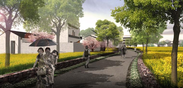 [湖北]武汉蔡甸美丽乡村概念规划设计方案-村庄道路改造效果图