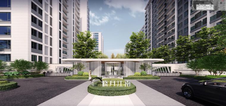 [浙江]桐乡现代简洁居住区景观设计方案-形象入口设计效果图2