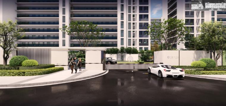 [浙江]桐乡现代简洁居住区景观设计方案-车行入口景观效果图