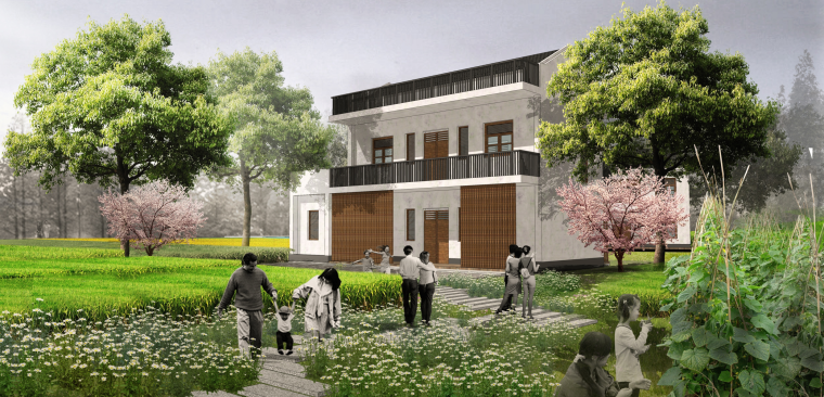 [湖北]武汉蔡甸美丽乡村概念规划设计方案-房屋景观改造效果图