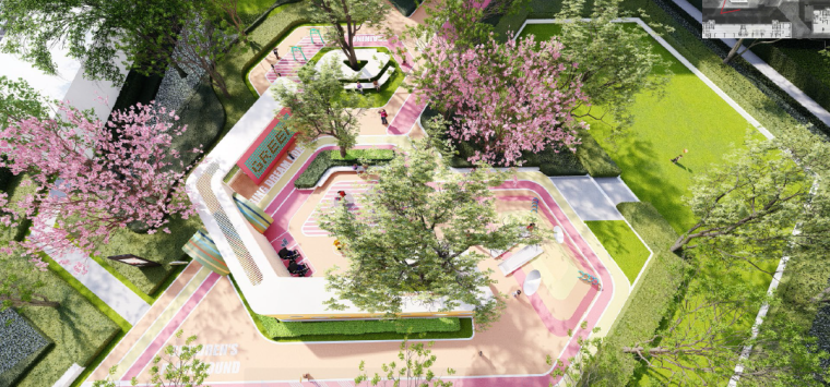 [浙江]桐乡现代简洁居住区景观设计方案-儿童+老年活动中心效果图