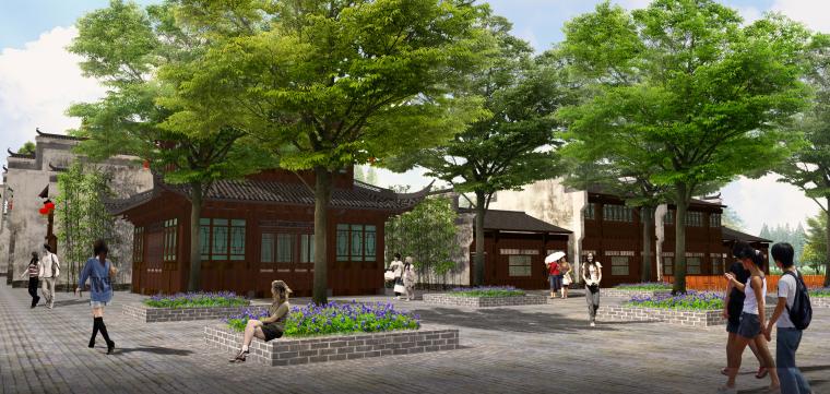 [湖北]武汉蔡甸美丽乡村概念规划设计方案-甜·槐旧花街效果图