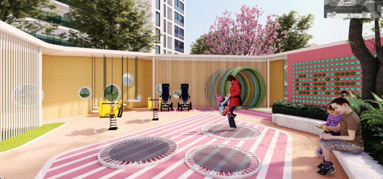 [浙江]桐乡现代简洁居住区景观设计方案-儿童+老年活动中心效果图3