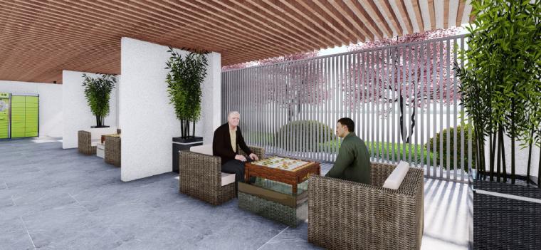 [浙江]桐乡现代简洁居住区景观设计方案-会客厅景观效果图