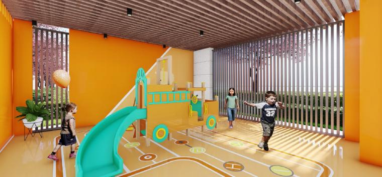 [浙江]桐乡现代简洁居住区景观设计方案-架空层景观效果图