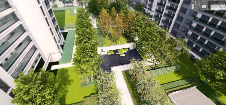 [浙江]桐乡现代简洁居住区景观设计方案-景观绿轴效果图