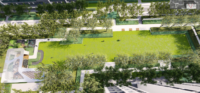 [浙江]桐乡现代简洁居住区景观设计方案-景观绿轴效果图2