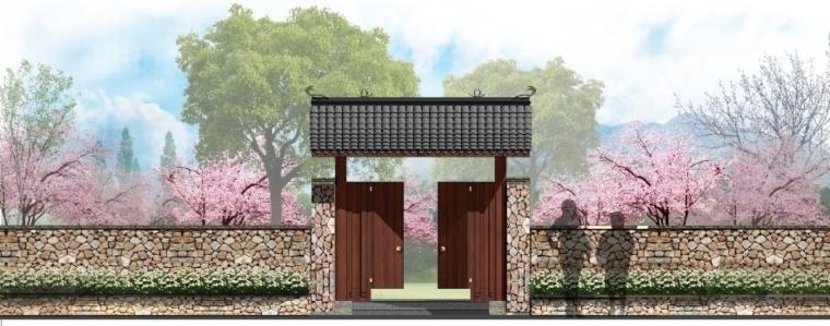 [湖北]武汉蔡甸美丽乡村概念规划设计方案-桃园景观效果图