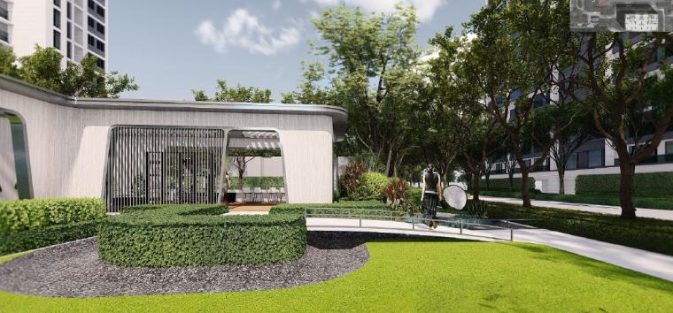 [浙江]桐乡现代简洁居住区景观设计方案-景观绿轴效果图3