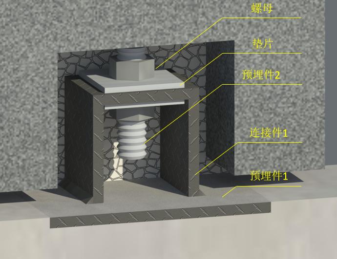 外墙挂板安装BIM技术交底(含模型汇报)-与基础拉梁连接支点