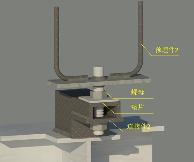 外墙挂板安装BIM技术交底(含模型汇报)-预埋件连接件关系图