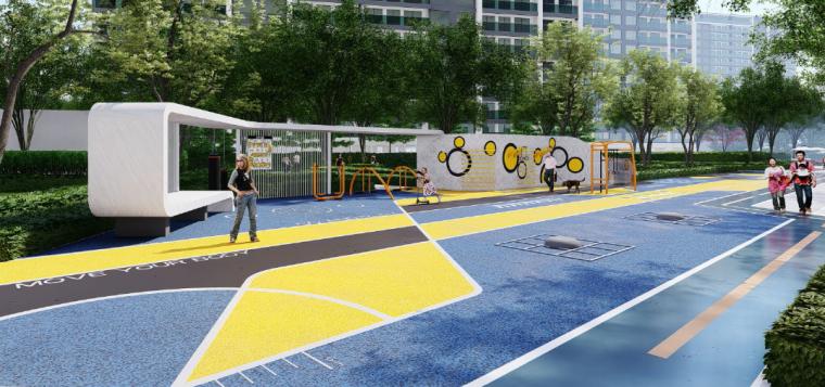 [浙江]桐乡现代简洁居住区景观设计方案-跑道设计效果图