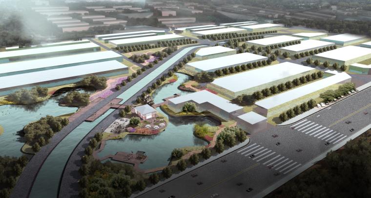 [湖北]武汉蔡甸美丽乡村概念规划设计方案-咸辣·农产品加工厂景观效果图