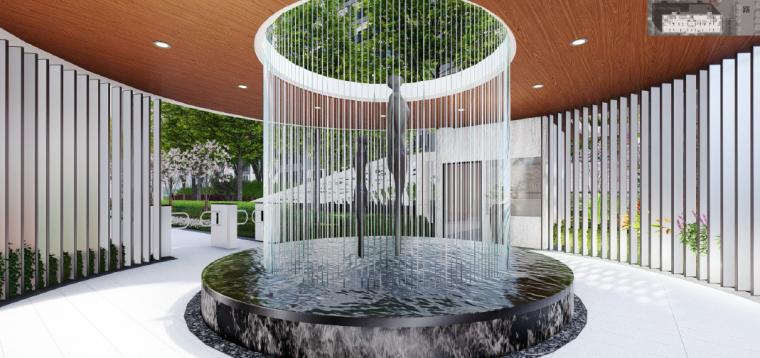 [浙江]桐乡现代简洁居住区景观设计方案-入口庭院景观效果图