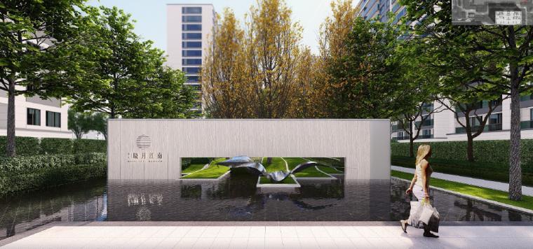 [浙江]桐乡现代简洁居住区景观设计方案-庭院水景效果图