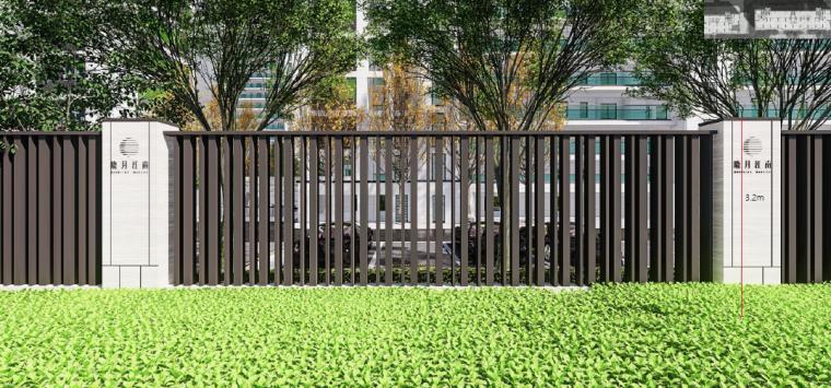 [浙江]桐乡现代简洁居住区景观设计方案-围墙景观效果图