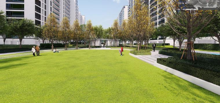 [浙江]桐乡现代简洁居住区景观设计方案-阳光草坪景观效果图