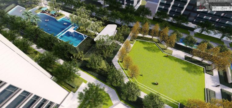 [浙江]桐乡现代简洁居住区景观设计方案-泳池+阳光草坪效果图