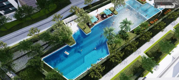 [浙江]桐乡现代简洁居住区景观设计方案-泳池景观设计效果图