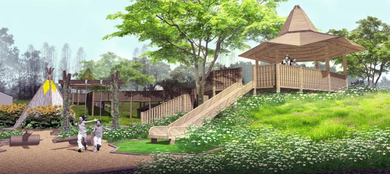 [湖北]武汉蔡甸美丽乡村概念规划设计方案-甜·童乐园效果图