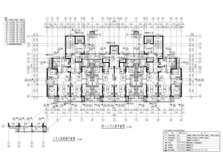大连科技小镇启动区住宅建筑施工图纸2018-1#楼四至二十八层平面图