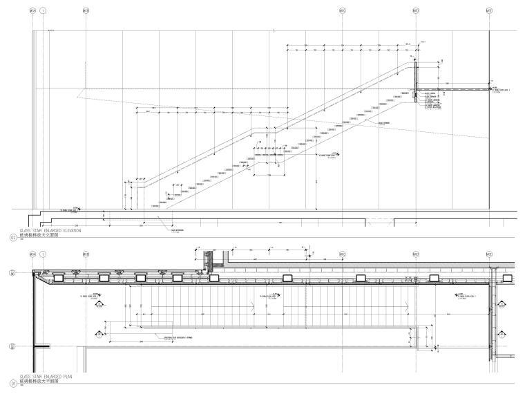 [杭州]西湖苹果直营店改造及装修工程施工图-玻璃楼梯放大平面图及立面图