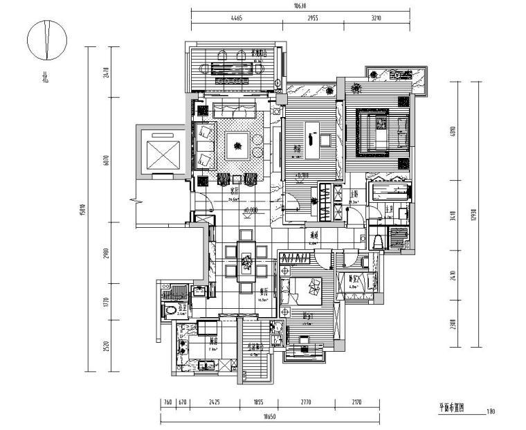 [广东]汕头香域水岸3栋住宅装修施工图-01 平面布置图