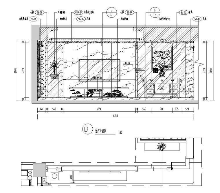 [广东]汕头香域水岸3栋住宅装修施工图-客厅立面图2