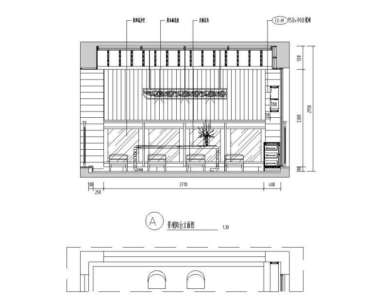 [广东]汕头香域水岸3栋住宅装修施工图-景观阳台立面图