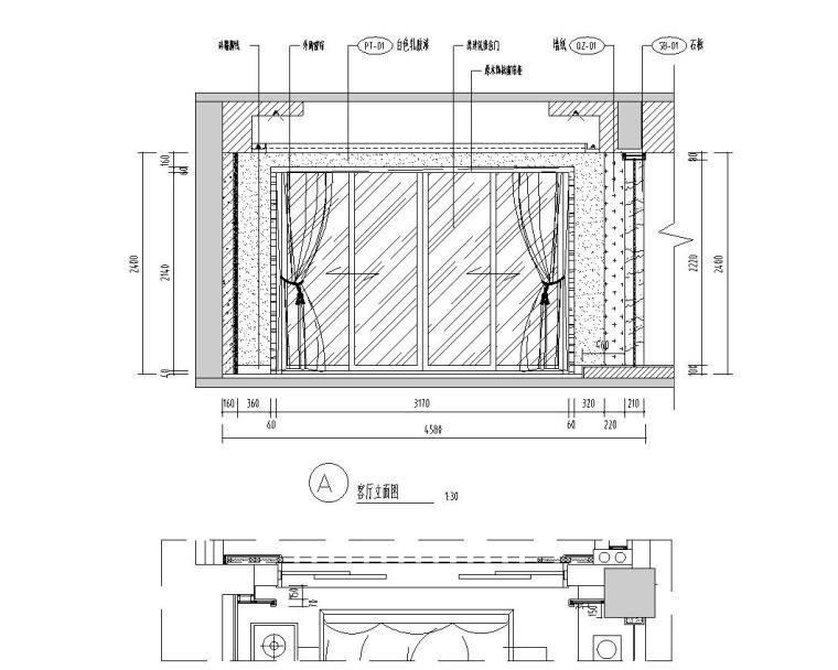 [广东]汕头香域水岸3栋住宅装修施工图-客厅立面图