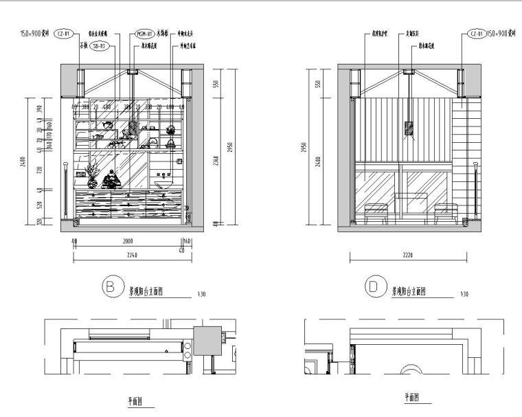 [广东]汕头香域水岸3栋住宅装修施工图-景观阳台立面图1