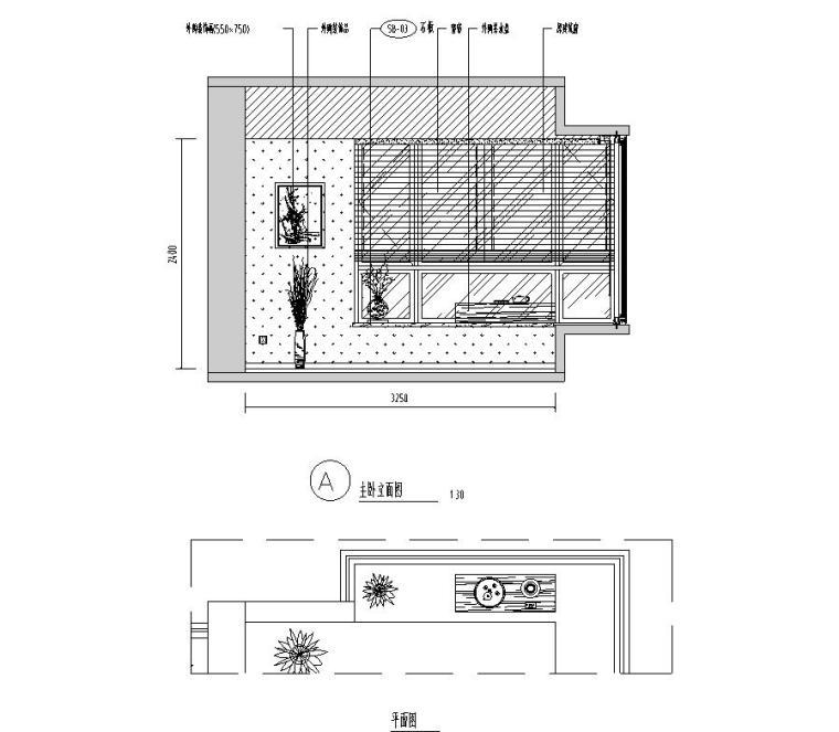 [广东]汕头香域水岸3栋住宅装修施工图-主卧立面图