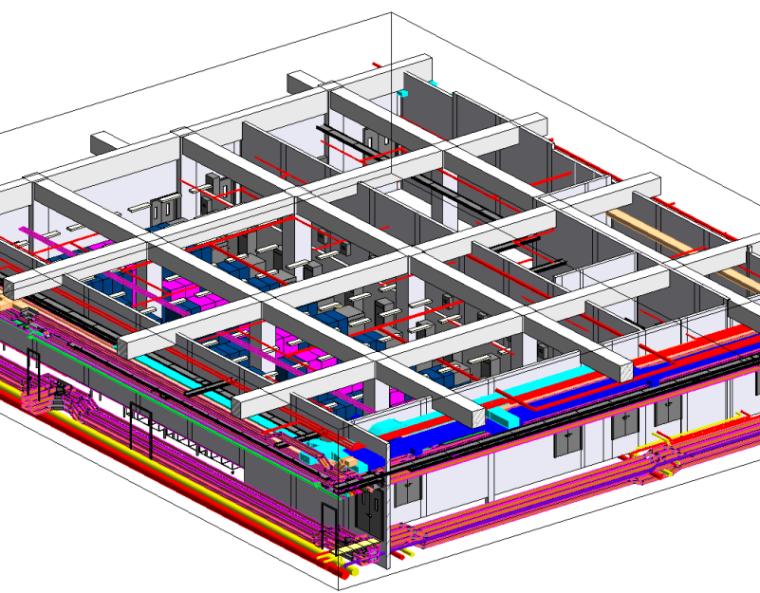 机房工程BIM管线综合深化设计(含模型)-BIM建模进行管线综合