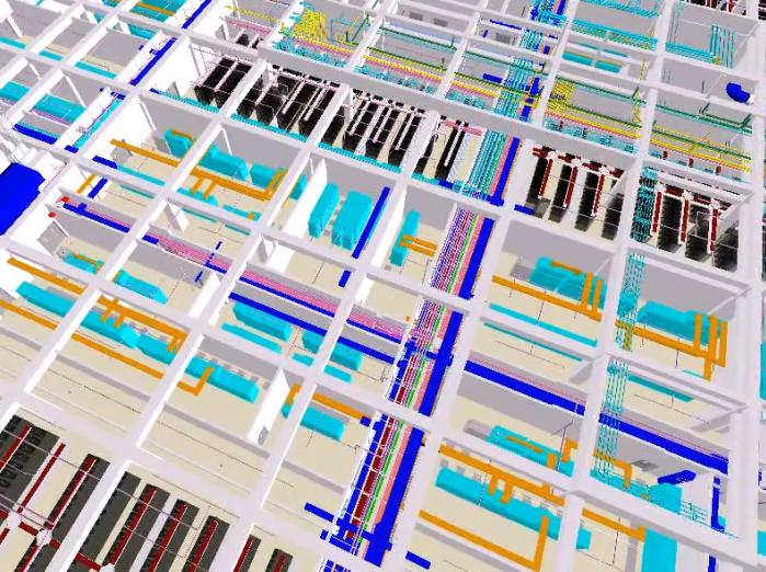 机房工程BIM管线综合深化设计(含模型)-服务器机房核心区域模型