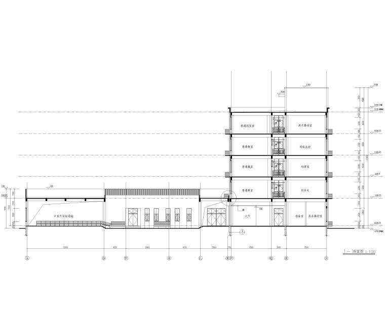 [河北]局部6层框架结构教学楼全套图纸2018-建筑剖面图