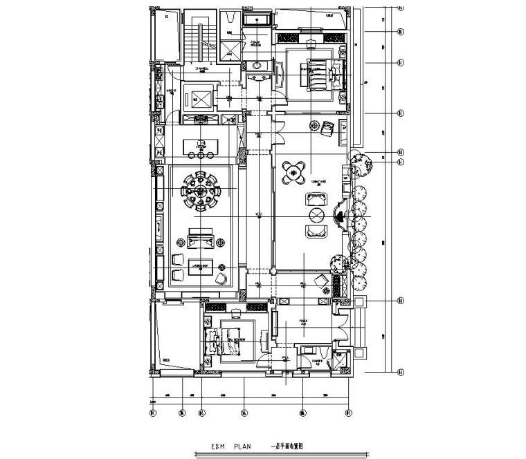四川成都东方美学别墅样板间施工图+效果图-01 一层平面布置图