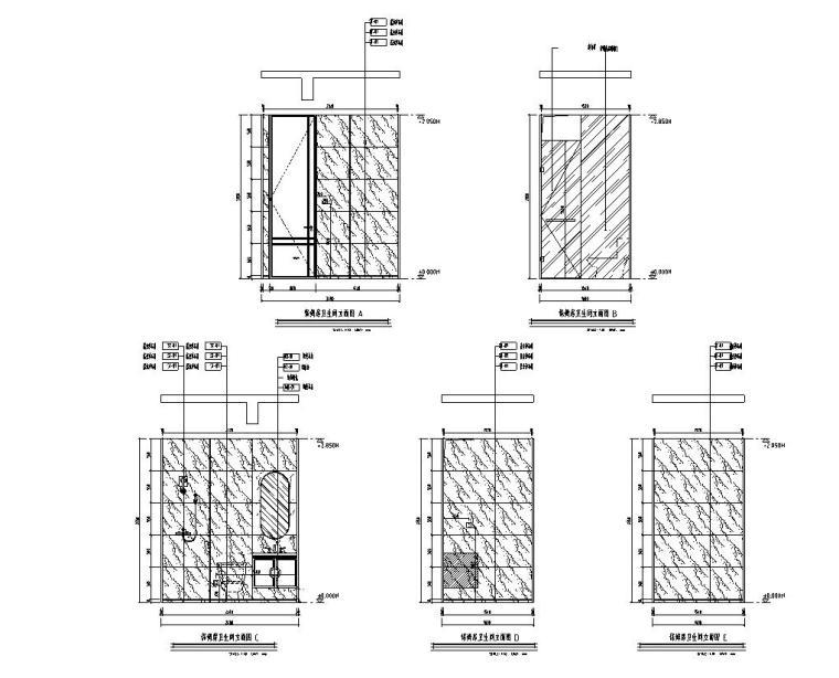 四川成都东方美学别墅样板间施工图+效果图-立面图3