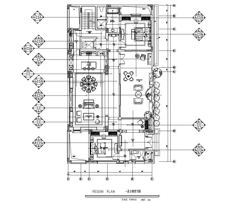 四川成都东方美学别墅样板间施工图+效果图-一层立面索引图