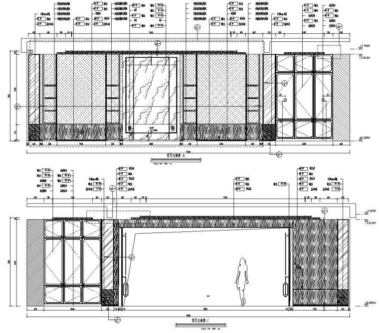 四川成都东方美学别墅样板间施工图+效果图-一层客厅立面图