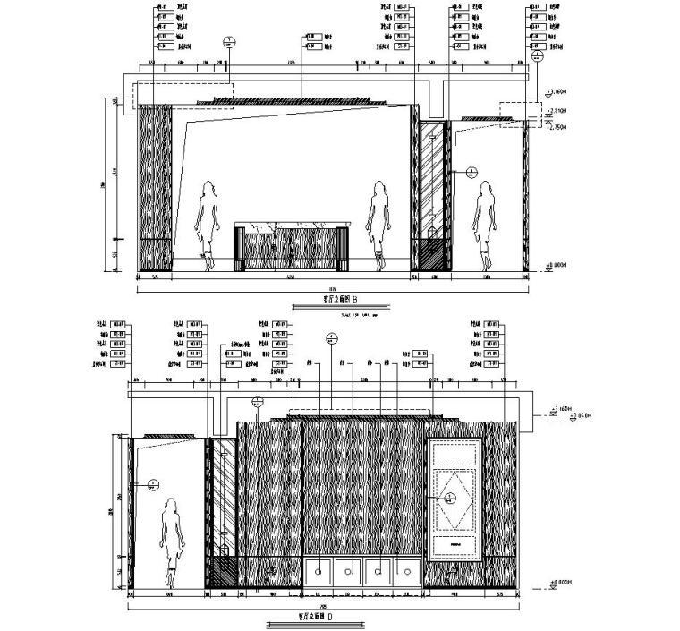 四川成都东方美学别墅样板间施工图+效果图-一层客厅立面图1