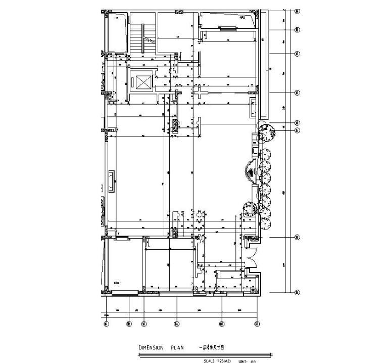 四川成都东方美学别墅样板间施工图+效果图-一层墙体尺寸