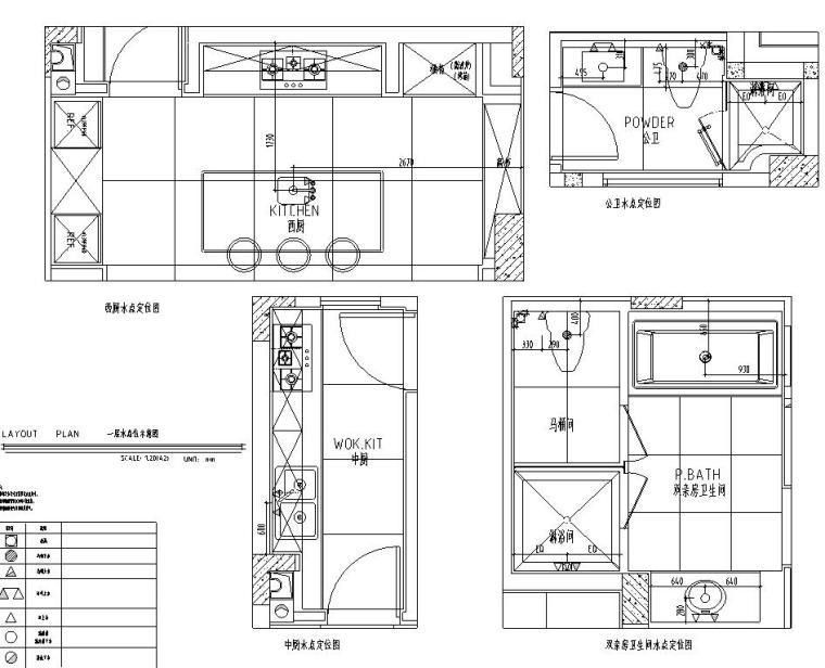 四川成都东方美学别墅样板间施工图+效果图-一层水点定位图