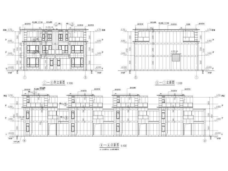 大连科技小镇启动区住宅建筑施工图纸2018-竖联排建筑立面图