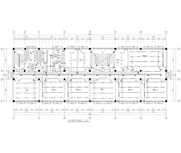 [河北]局部6层框架结构教学楼全套图纸2018-照明平面图