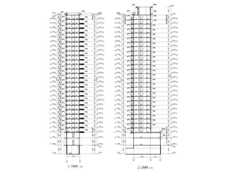 大连科技小镇启动区住宅建筑施工图纸2018-1#楼剖面图1