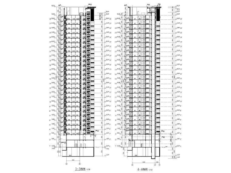 大连科技小镇启动区住宅建筑施工图纸2018-1#楼剖面图2